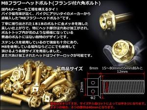 M8×35mm フラワーヘッドボルト ステンレス製フランジ付き六角ボルト フレームやハンドルポストなどに ゴールド TB0510