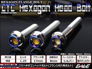 ヘキサゴンヘッドボルト CTC フランジ付六角ボルト M8×40mm ステンレス シルバー/焼チタンカラー