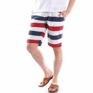 dadf3a1610 ハーフパンツ メンズ 半ズボン 膝上 短め マルチボーダー柄 ショートパンツ イージー スウェット