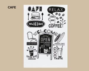 ウォールステッカー カフェ オープン看板 英語 壁シール モノクロサイン ミニサイズ ファーストフード レストラン 店舗装飾に 送料無料