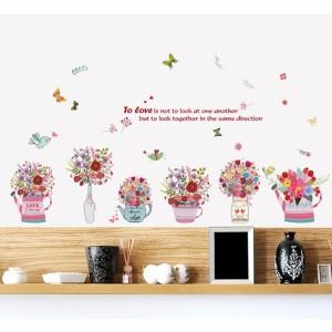 ウォールステッカー 手描き絵の花ポット 小鳥と蝶 壁紙シール 花瓶 鉢植え じょうろ 赤い 部屋飾り 英語 名言 居室 店舗 陳列窓 賃貸可