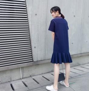 ポロシャツワンピース 2018夏新作 マーメイドライン うさぎプリントが可愛い
