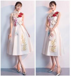 優雅 イブニングドレス 立ち襟 刺繍 半袖 パーティードレス セクシー フェミニン フォーマルドレス 司会 成人式 卒業式 ファスナー