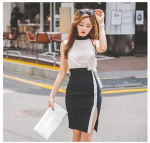 韓国風トップス+タイトスカート 袖なし ファッション 膝丈☆OL通勤☆パーティー