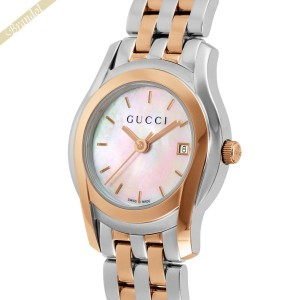 2da385d601c1 グッチ GUCCI レディース腕時計 Gクラス 27mm ホワイトシェル×ピンクゴールド×シルバー YA055538