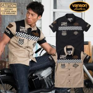 ワッペンデザイン VANSON [18_sum] nvps-807 バンソン 天竺半袖ポロシャツ チェッカーフラッグ柄