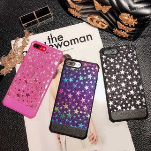 fb8ae78ad7 星 ラメ シェルカバー ブラック ピンク パープル ☆ iPhone 6 / 6s / 6Plus / 6sPlus