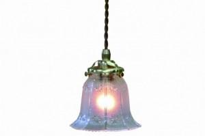 ガラス ペンダントランプ (FC-334 SET) LED対応 ガラスのシェードがクラシカル アンティーク調 ランプ 吊り下げ式 シンプル