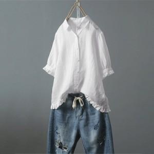 シャツ 綿 ブラウス 夏 レディース 薄型 フリル半袖Tシャツ トップス 無地 体型カバー ゆったり 大きいサイズ シングル 送料無料