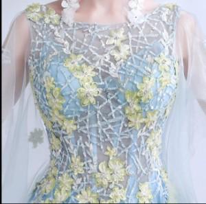 エンジェルウェディングドレス 妖精 ウォーターブルー ロングドレス スリーブディナー パーティードレス 年間ドレス