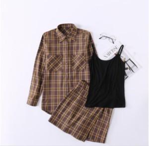 2018春夏韓国 ファッション スーツ 女性 レトロなチェック シャツ+ハイウエスト ハーフ スカート レディーススーツ