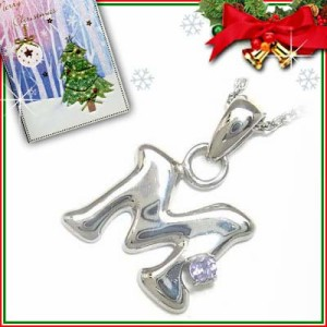 クリスマス限定Xmasカード付「M」イニシャルモチーフ12月誕生石 タンザナイトペンダントネックレスCanCam掲載