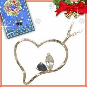 クリスマス限定Xmasカード付9月誕生石 K10ピンクゴールド サファイアペンダントネックレス ハートモチーフ