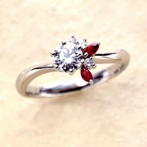 CanCam掲載婚約指輪 ダイヤモンド プラチナエンゲージリング7月誕生石 ルビー