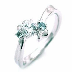 3月誕生石 アクアマリン Pt ダイヤリング 婚約指輪・エンゲージリング