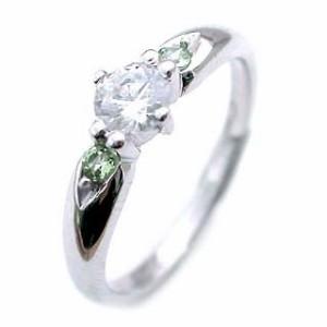 8月誕生石 ペリドット Pt ダイヤリング 婚約指輪・エンゲージリング