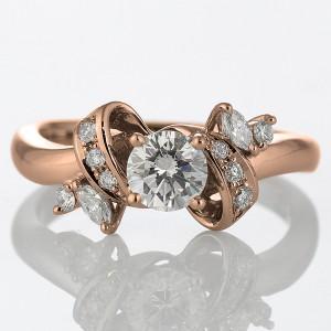 婚約指輪 ダイヤモンド ダイヤ リング エンゲージリング K18ピンクゴールド SIクラス 0.30ct 鑑定書付