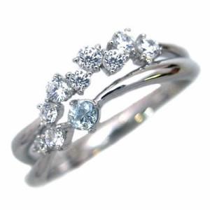 スイート エタニティ ダイヤモンド 10 個 3月誕生石 プラチナ アクアマリン・ダイヤモンドリング 結婚 10周年記念