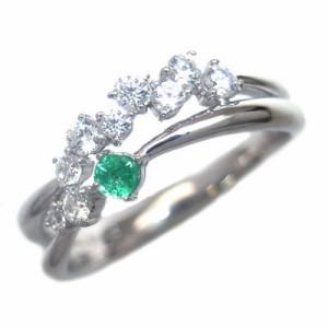 スイート エタニティ ダイヤモンド 10 個 5月誕生石 プラチナ エメラルド・ダイヤモンドリング 結婚 10周年記念