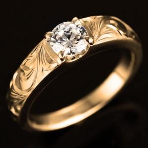 結婚指輪 マリッジリング 人気 ハワイアンジュエリー ペアリング ダイヤモンド 一粒 大粒 イエローゴールド 結婚式 18金 K18YG ダイヤ ス