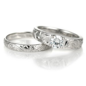 ハワイアンジュエリー ペアリング 鑑別書付き ハワイアン ダイヤモンド リング 婚約指輪 結婚指輪 ホワイトゴールド ペアリング 18金 K18