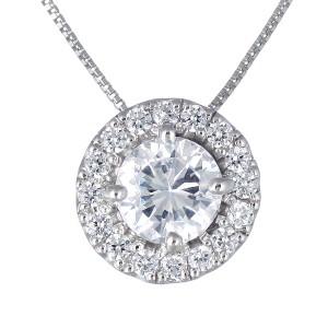 ダイヤモンド ネックレス プラチナ ダイヤモンドネックレス 1カラット ソリティア 一粒 大粒 鑑定書付