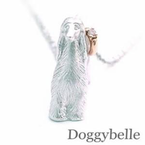 4月誕生石 プラチナ K10ダイヤモンドネックレス アフガンハウンド 犬