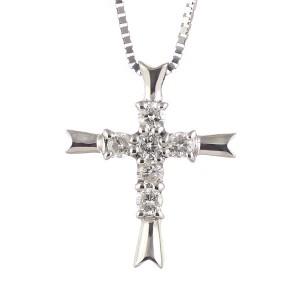クロス 4月誕生石 K18ホワイトゴールドダイヤモンドペンダントネックレス クロスモチーフ