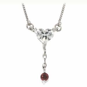 メンズ ネックレス ガーネット 1月誕生石 K18ホワイトゴールド ダイヤモンド・ガーネットペンダントネックレス ハートモチーフ