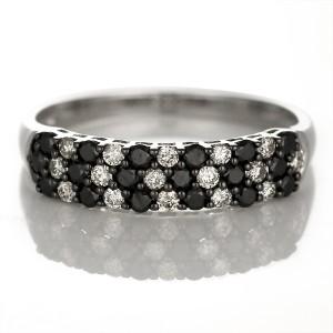 指輪 ブラックダイヤモンド リング 18金 K18 18k ホワイトゴールド ダイヤ リング ストレート レディース エタニティ