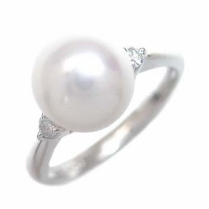 プラチナ アコヤ真珠リング ダイヤモンド入り