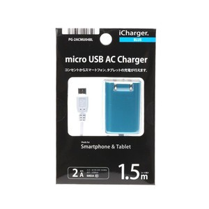 micro USBコネクタ用コンパクトAC充電器 2A ブルー 取り寄せ商品 4562358100659