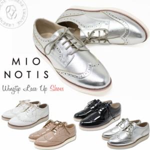 mio notis ミオノティス 軽量ボリュームソールウィングチップ レースアップシューズ レディース靴 エナメル 英国風