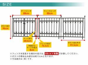 パークアベニューフェンス基本セット フェンス ゲート 扉 アイアン ガーデンフェンス ガーデニング 枠 柵 仕