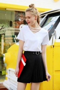 ボトムス スカート ミニ丈 ラップ プリーツ 飾りベルト Aライン ブラック 黒 かわいい おしゃれ 大きいサイズ