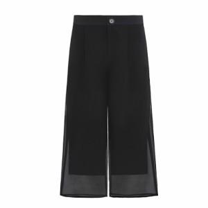 レディースファッション ボトムス パンツ シフォン 5分丈 7分丈 スリット ファスナー ブラック ラージサイズ 夏