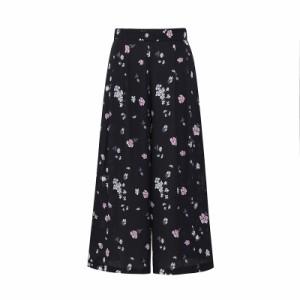 ボトムス パンツ レディース ワイドパンツ ガウチョ ゆったり 小花柄 シンプル 黒 オフィス キレイめ 大きいサイズ