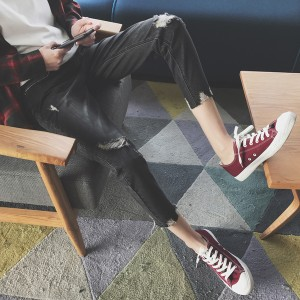 メンズ ボトムス デニム フレイドヘム ダメージ加工 クロップド丈 無地 ブラック カジュアル ストリート 大きいサイズ サイズ豊富 ジーン