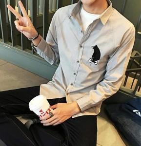 メンズ シャツ くまモチーフ アップリケ 長袖 ラグランスリーブ コットン ライトブルー ライトグレー ホワイト カジュアル シンプル スリ