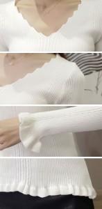 セーター ニットウェア Vネック 袖口×裾フリル付 縦ライン 無地/新作★メール便可