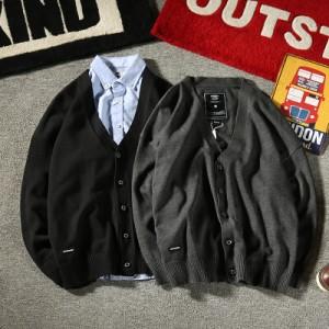 メンズ カーディガン・ベスト ニット・セーター トップス 長袖 ビジネス 無地 シンプル スクール Vネック ダークグレー ブラック
