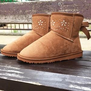 【即納】ビジュー付きショートムートンブーツ ラインストーン バックリボン レディース 靴・シューズ 定番 可愛い 秋冬