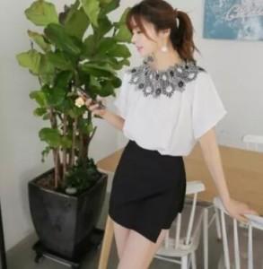 トップス チュニック 半袖 オフショルダー 花柄 刺繍 モノトーン ブラウス シャツ 清楚 セクシー きれい かわいい ホワイト