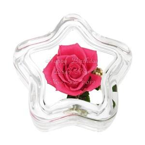 【花を母の日に贈る】【名入れ母の日ギフト】【名入れホワイトデー】【名入れ無料】プリザーブドフラワー スターピンクローズ 名入れ