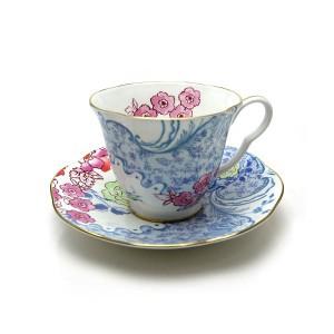 ウェッジウッド ハーレクイン コレクション バタフライブルーム ティーカップ&ソーサー ブルー&ピンク【ラッピング不可】