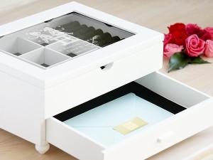 【名入れ無料】【送料無料】世界にひとつのオリジナル ジュエリーボックス ホワイトL 名前やメッセージ、好きなデザインが入る