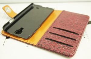送料無料 GALAXY S4 SC-04E マッドクロコダイル レザーウォレットタイプ 手 帳型 ケース カ バー 赤