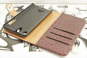 送料無料 DIGNO M KYL22 マットクロコダイル柄 レザーウォレットタイプ 手帳型ケース カバー 赤