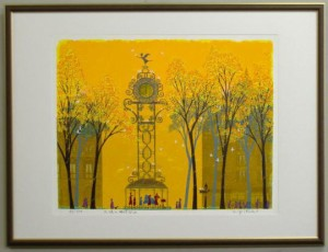 風水版画3324 金運 天使の時計台A 吉岡浩太郎