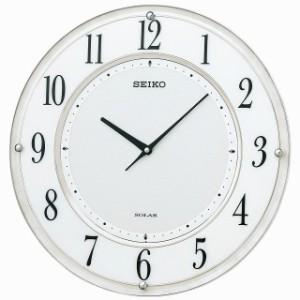 SEIKO CLOCK セイコー クロック 掛け時計 SOLAR+ ソーラープラス 電波 アナログ 薄型 白マーブル 模様 SF506W